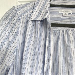 Charter Club White and Blue striped button down